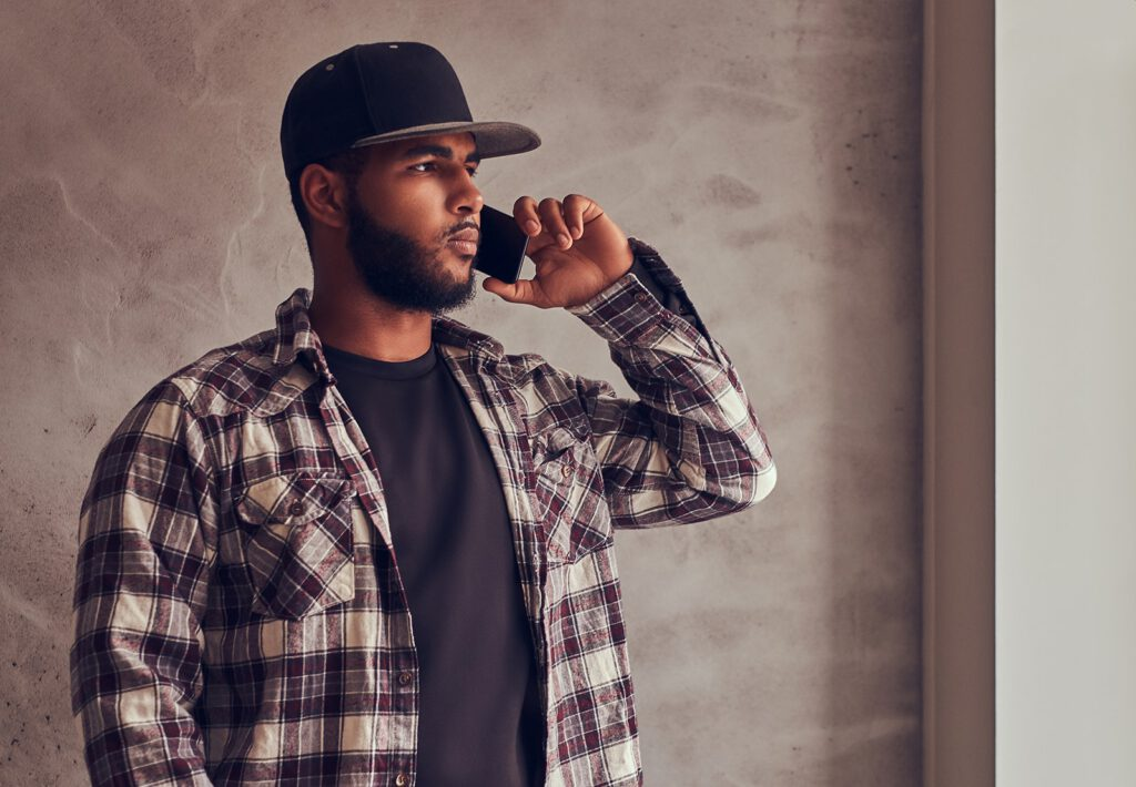 african-american-bearded-man-wearing-a-checkered-s